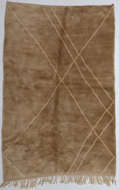 area soft wool rug, high quality material, brown with abstract  design lines and tassels, authentic handmade from morocco, perfect for layering in a living room or under dining table, bedroom