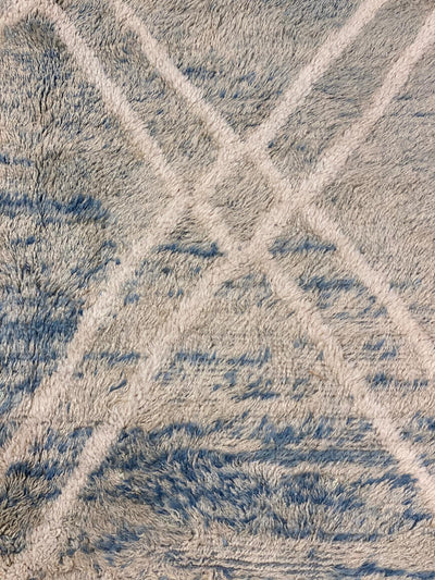 close up blue and white beni mrirt rug