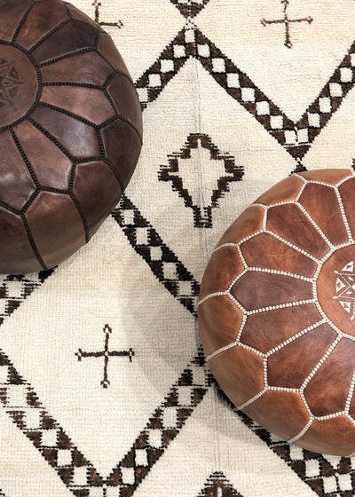 moroccan decor with moroccan leather stools