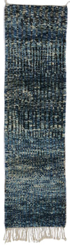blue runner rug with black stripes