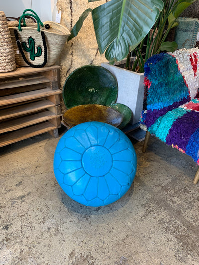 Leather Ottoman Round Moroccan Handmade Pouf Blue