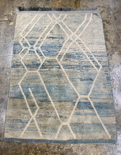 blue and white soft wool area rug
