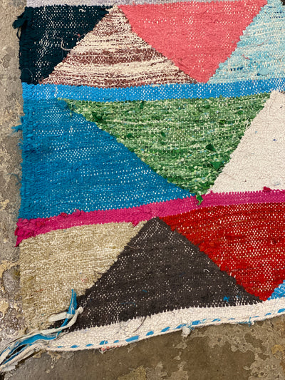 vintage boho kilim rug with stripes