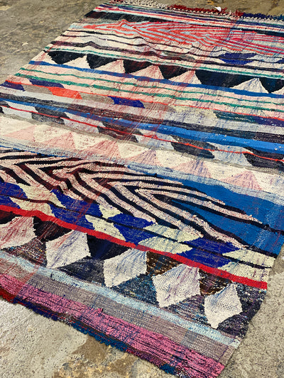moroccan kilim carpet with colorful abstract design