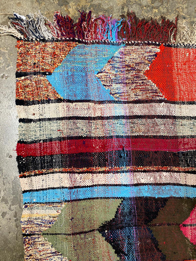 colorful boucherouite rug with stripes