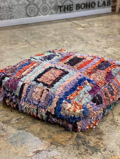 recycled cotton moroccan boucherouite floor cushion