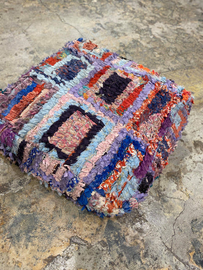 boucherouite moroccan floor pillow with colorful rectangles