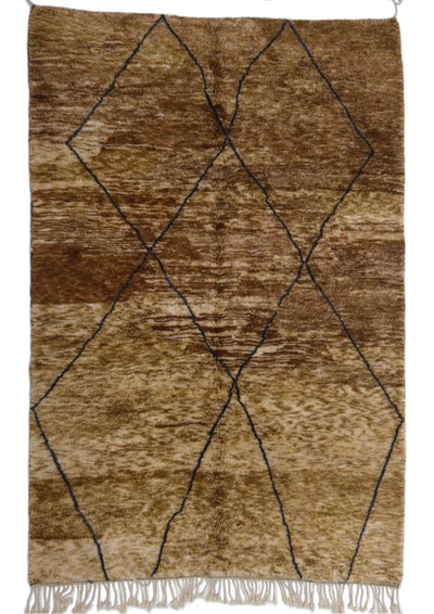 brown modern large rug with black diamond shapes