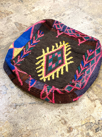square moroccan boho pouf with tribal design