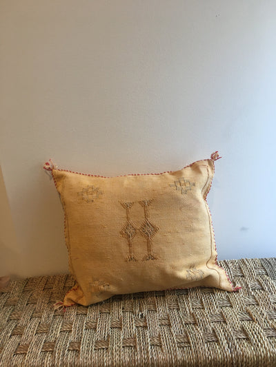 yellow square cactus silk cushion