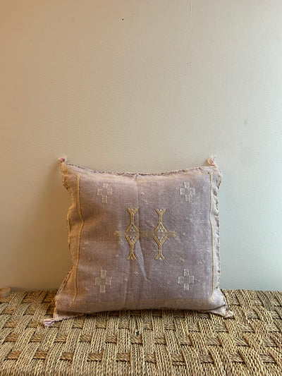 square lilac cactus silk pillow