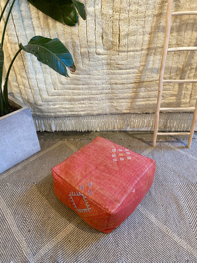 red cactus silk floor pillow