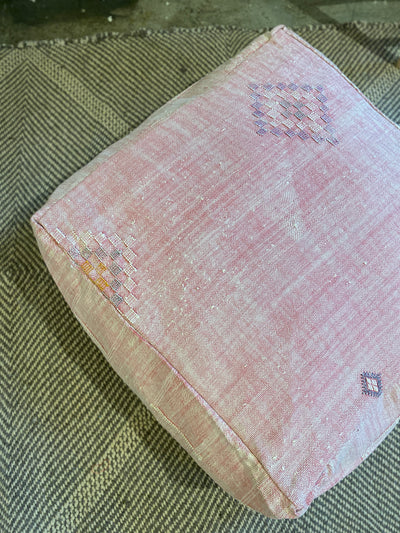 light pink cactus silk cotton floor pillow