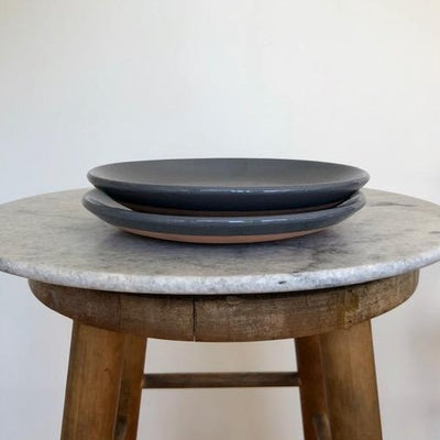 Set of Two Terracota Plates Black