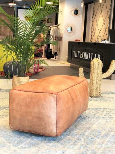 long leather ottoman moroccan pouf