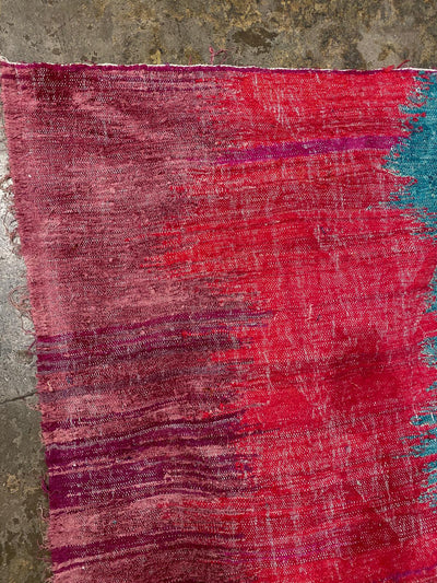 pink corner of colorful boucherouite rug