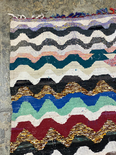 moroccan large area rug with colored wavy stripes