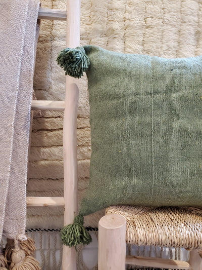 moroccan pillow case, organic cotton cushion cover green