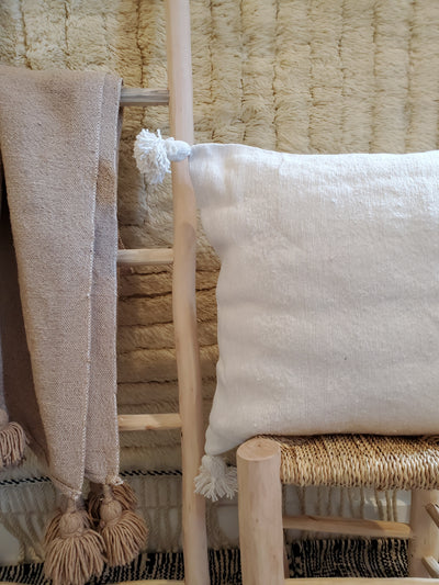 moroccan pillow case, organic cotton cushion cover white