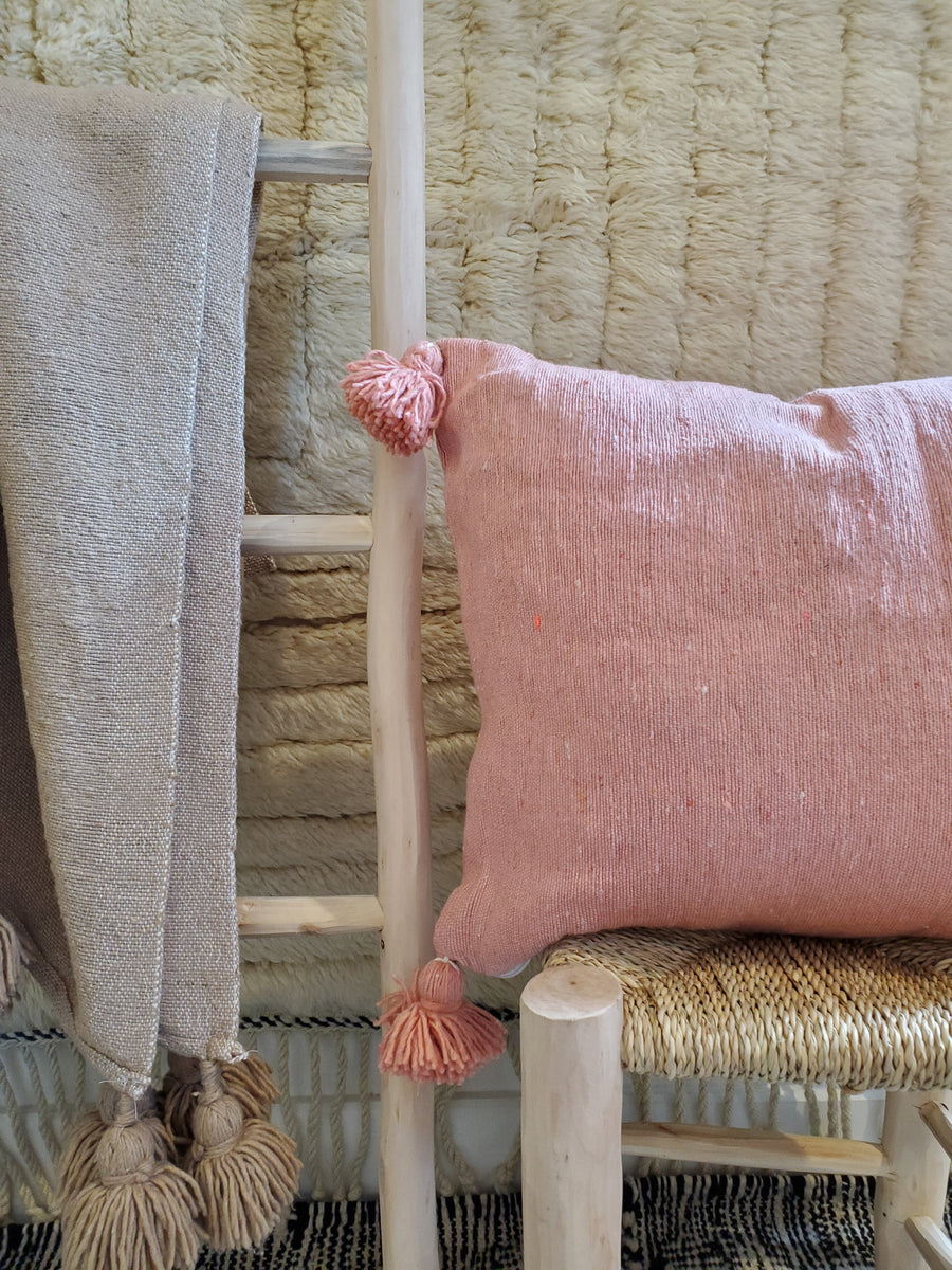 moroccan pillow case, organic cotton cushion cover pink