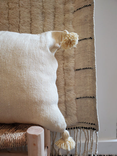 moroccan pillow case, organic cotton cushion cover beige
