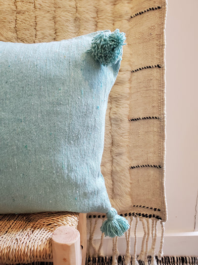 blue moroccan pillow case, organic cotton cushion cover