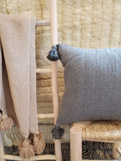 gray moroccan pillow case, organic cotton cushion cover