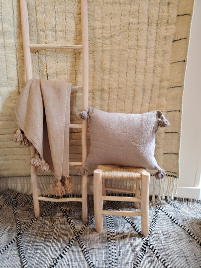 beige moroccan pillow case, organic cotton cushion cover