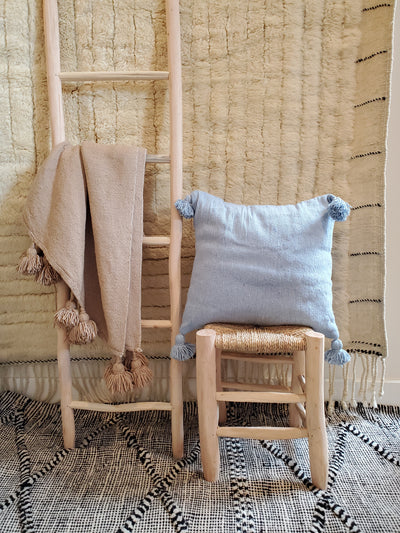 light blue moroccan pillow case, organic cotton cushion cover
