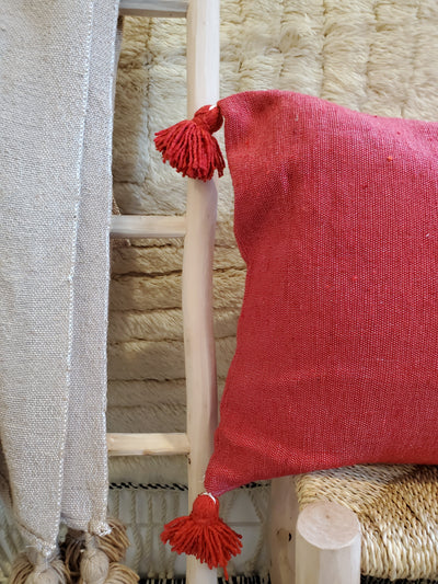 red moroccan pillow case, organic cotton cushion cover