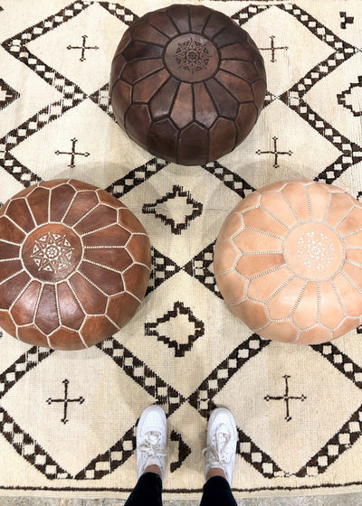 nude moroccan pouf light brown leather stool dark brown floor cushion
