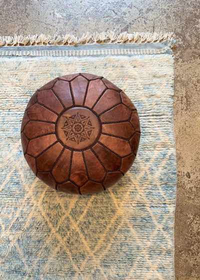 Leather Ottoman Moroccan Handmade Pouf Dark Brown