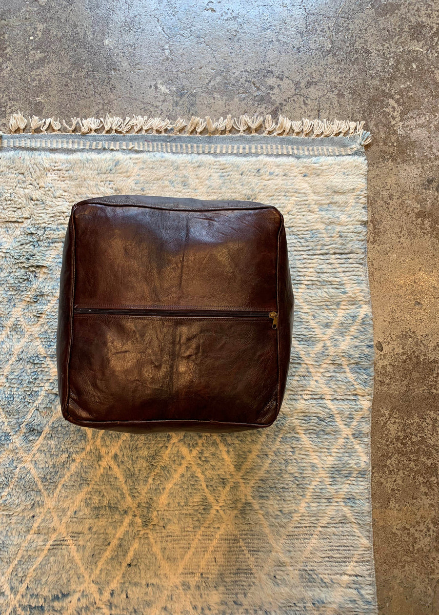Leather Ottoman Square Moroccan Handmade Pouf Dark Brown
