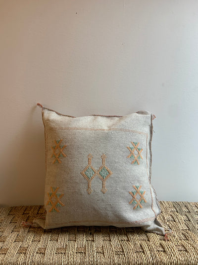 light gray moroccan pillow