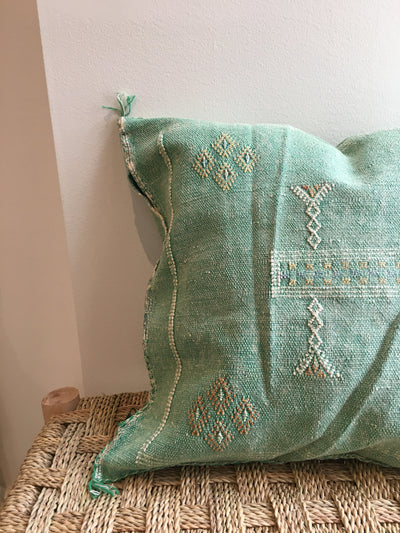 green moroccan cushion cover with bohemian colorful designs