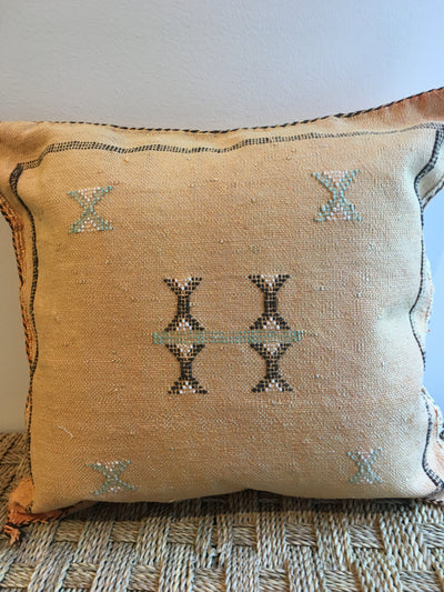 yellow cactus silk pillow with brown details
