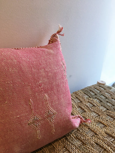 pink sabra silk pillow