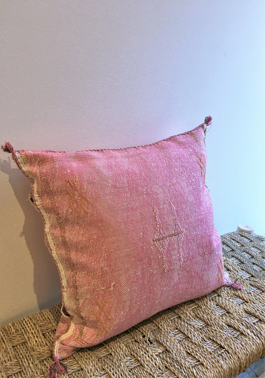 pink square cactus silk cushion