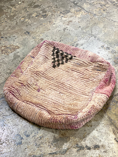 beige handmade wool floor cushion