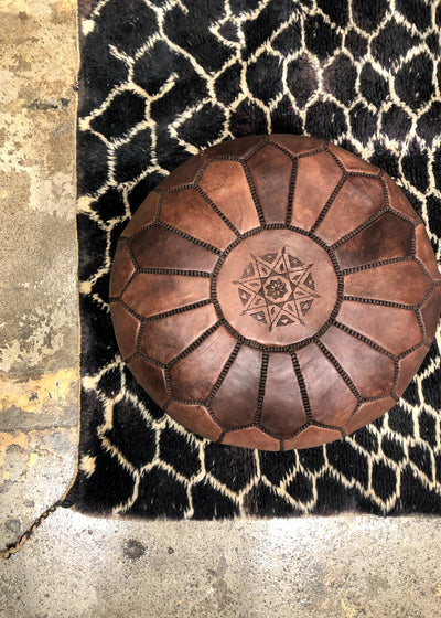 moroccan leater stool dark brown pouf