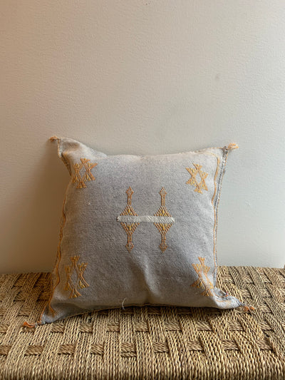 square gray cactus silk pillow with yellow details