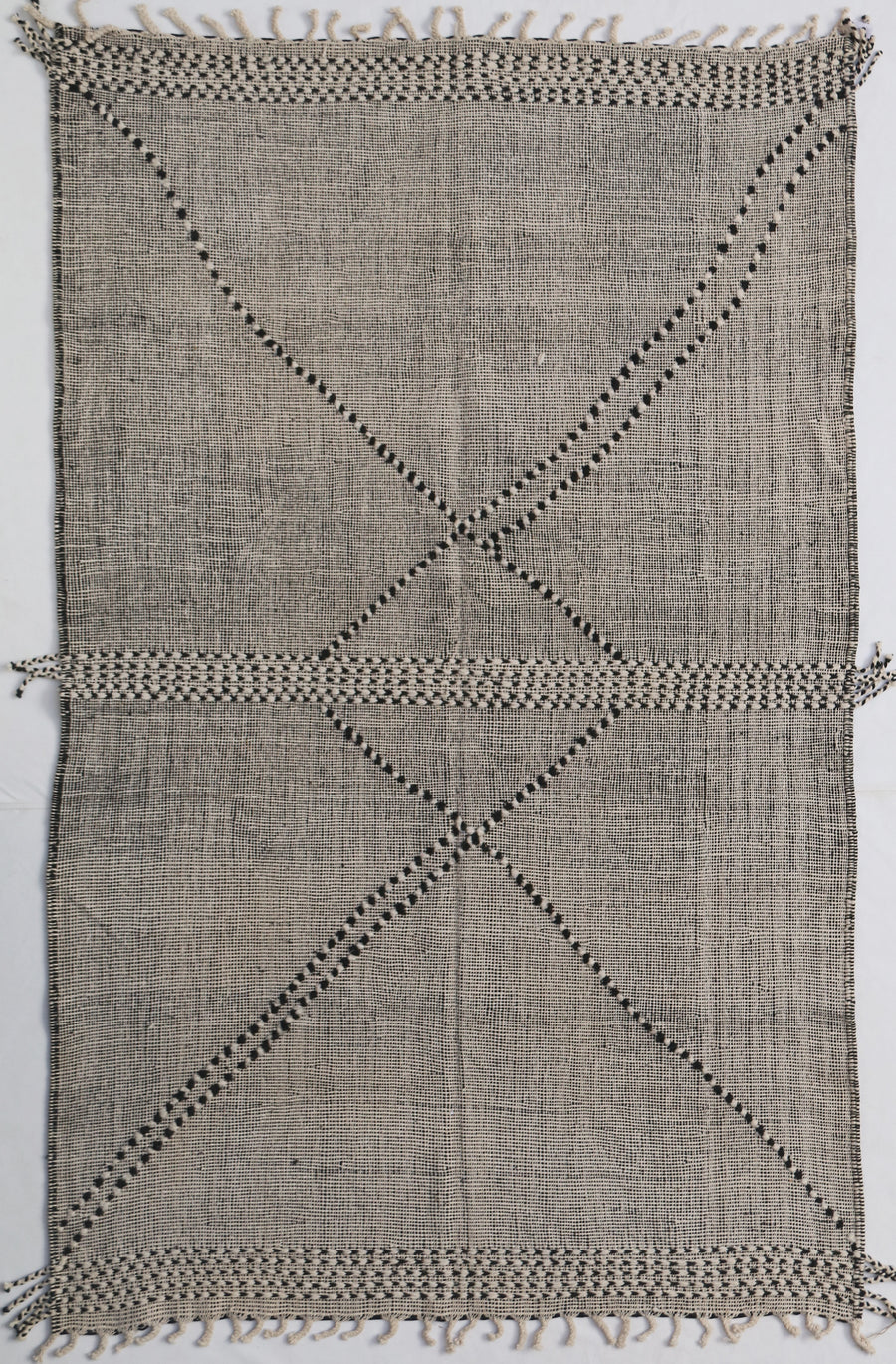 gray moroccan handmade low pile kilim rug with abstract design