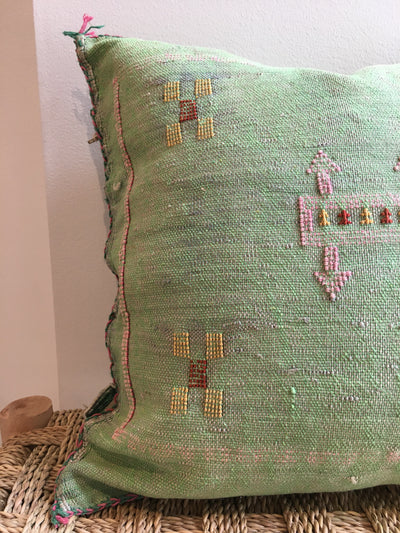 square green cactus silk pillow with pink and yellow geometric design
