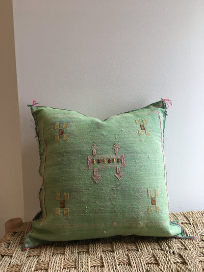 square green moroccan cushion case with pink and yellow details