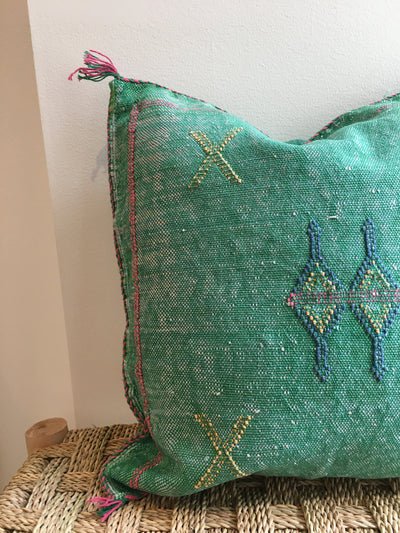 green square moroccan pillow with colorful design