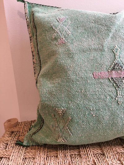 square green cactus silk cushion with pink detailing