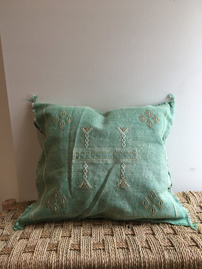 green moroccan sabra pillow case with beige design