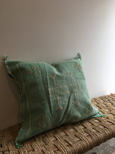 square green cactus silk pillow with tribal designs