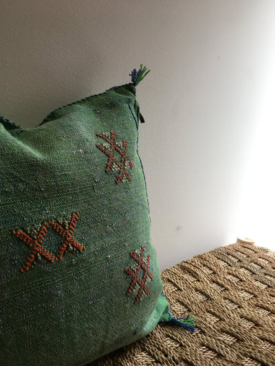 green moroccan sabra pillow cover with red designs