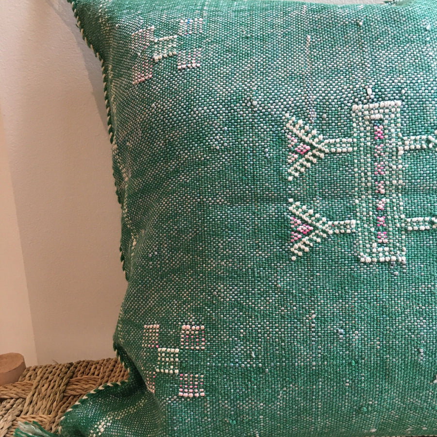 square green moroccan cactus silk cushion with white and pink details